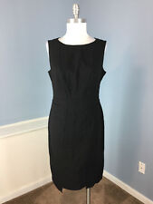Magaschoni Black Sheath dress Career Cocktail Excellent Wool Blend Stretch M 8