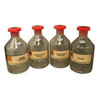 4 x Vintage Saftey Coated Glass Storage Bottle With Stoppers - Chemist - Labware