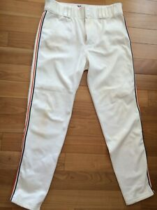 """Victory Men's White Baseball Pants With Orange & Blue Piping, Sz 36 Inseam 32.5"""""""