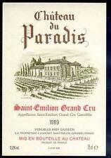 Étiquette château DU PARADIS. 1989. SAINT-EMILION - GRAND CRU
