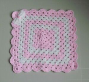 New Hand Crochet Baby Girls Pink & White Comforter/Security Blanket