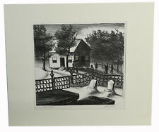 """10"""" Signed Lithograph James Routh CHURCH YARD Headstones Cemetery Dark Wall Art"""