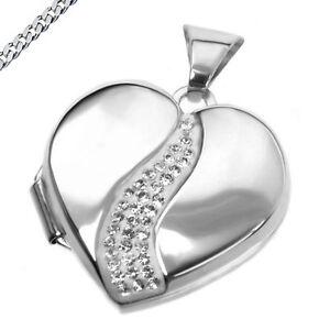 Medaillon Herz mit Zirkonia Kette wählbar 925/ Silber Amulett für 2 Bilder neu