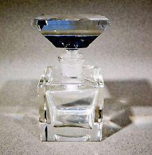 Crystal Perfume Bottle, Mid-century Style Beveled Edge Heavy Crystal Perfume