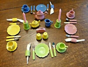 Vintage Frenzy Toys 38 pcs Pastel Tea Set Dishes a Fiesta of Colors NEW