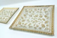 PAIR Vintage MCM Georges Briard Gold Persian Garden Glass Serving Trays Plates