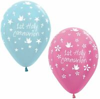 10 1st First Holy Communion Pink or Blue Helium/Air Balloons Party Decorations