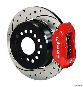 """Wilwood Rear Disc Brake Kit Big Ford New Style 9"""" w 2.5"""" Offset Drill 12.19"""" Red"""