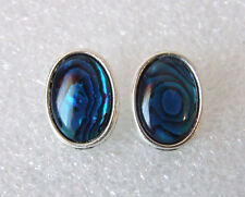 Genuine Blue Paua Abalone Shell Oval Cabochon Stud Earrings 16 x 12 mm in Box