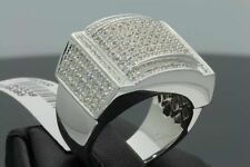 1.04 CARAT REAL DIAMONDS MENS WHITE GOLD FINISH ENGAGEMENT WEDDING PINKY RING