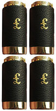 4 x One Pound £1 Coin Holder Gadget Holds Up to 15 Coins Gold & Black Leather