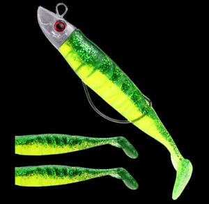 1 Set Soft Bait Fishing Lures 15g 25g Jigging Lead Head Jig Fish Tail Sea Bass