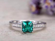 Engagement Ring 925 Silver White Finish 2Ct Princess Cut Emerald Green Diamond