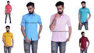 Men Plain Formal Dress Shirt Short Sleeve Slim Fit Business Button-Down Shirt