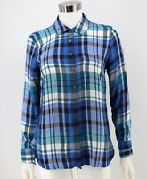 Talbots Shirt Size XS Blue Plaid Flannel Button Front Rayon Blouse Top Women