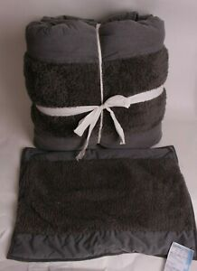 Pottery Barn Teen Bold Stripe Sherpa FQ quilt comforter & sham full queen sample