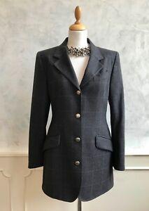 Vintage AUSTIN REED Cashmere Wool Grey Check Retro Office Autumn Blazer Jacket 8