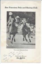 c1940 Brochure Polo at The Golden Gate Park SF Polo & Racing Club (SF vs Oakland