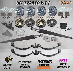 "DIY 3500Kg Tandem Trailer Caravan Car Kit 12"" Electric Brakes Heavy Duty Axles"