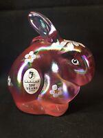 Fenton Art Glass Hand Painted Rose Milk Carnival Bunny Rabbit