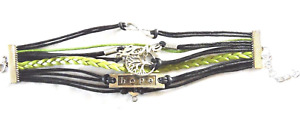 Multi Strand Infinity Bracelet Black & Green Breast Cancer Hope Love Infinity