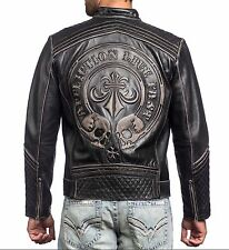 NWT Affliction Men's Leather Lemmy Motorcycle Bike Jacket Sz M