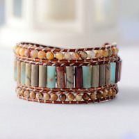 Tube Shape Natural Stone 3 Layers Leather Wrap Bracelets Bohemian Women
