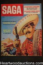 Saga Aug 1957 Amelia earhart, Humphrey Bogart, Pancho Villa Cvr - Ultra High Gra