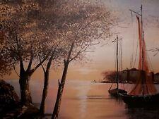 Ölgemaelde Ölmalerei Segel signiert Haus am Fluss Schifffahrt Schiffe