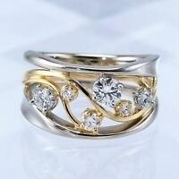 Fashion Two Tone Silber Ringe Damen Damen Schmuck White Sapphire Ring Größe 6-10