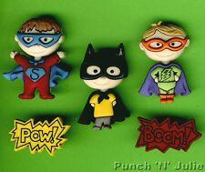 BE MY SUPER HERO - Superman Batman Comic Book Novelty Dress It Up Craft Buttons