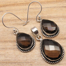 925 Silver Plated Natural SMOKY QUARTZ LADIES' Earrings & Pendant JEWELRY SET