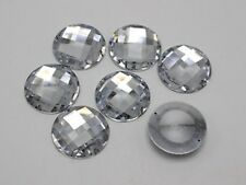25 Clear Flatback Acrylic Big Sewing Rhinestone Round Buttons Sew On Beads 25mm