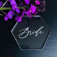 Hexagon Table Place Name, Acrylic, Personalised Name Setting, Wedding Decoration