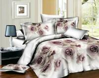 Duvet Cover 3D White Rose Bed Set Fitted Sheet Pillow Case Single/Double/King/SK