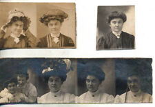 SET OF 3 1909 MINIATURE PORTRAITS OF YOUNG WOMAN IN UNUSUAL HAT - ALBANY, NY