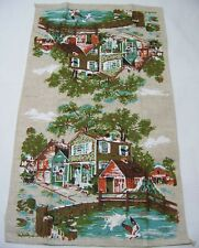 Seaside Village Vintage Kitchen Linen Tea Towel New England Surrey Seagulls
