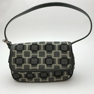 NINE WEST Women's Purse Handbag Black Grey Squares Blocks