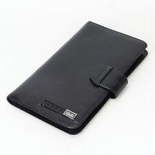 Genuine Leather Credit Card Holder long wallet Men travel passport cover black