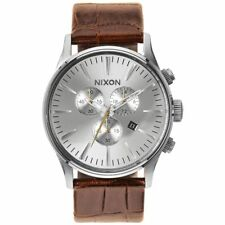 Nixon Sentry Silver Dial Chronograph Brown Leather Mens Watch A4051888