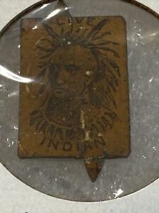 Tin Tobacco Tag Live Indian Rare Tag Hardest Black On Yellow Native American