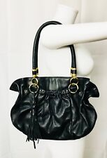 Tahari Shoulder Bag Tote Black Leather Handbag Tassel Hobo Satchel