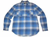 Rugby Ralph Lauren Polo Blue White Plaid Cargo Work Chore Shirt Medium