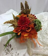 Fall wedding bridal bridesmaid bouquet orange brown roses Quinceanera