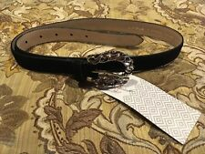 NWT Women's LODIS Black Genuine Leather Chain Link Belt (Medium-32 Waist)