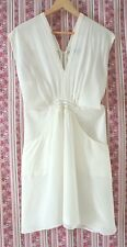* OXFORD woman * Sz 14 cream SILK dolman drop sl party cocktail races dress!