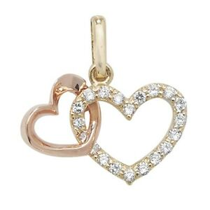 Men's 9ct Yellow and Rose Gold Cubic Zirconia Double Heart Necklace