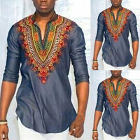 Mens Dashiki Tribal African V neck Long Sleeve Shirt Print Blouse Hippie Top Tee