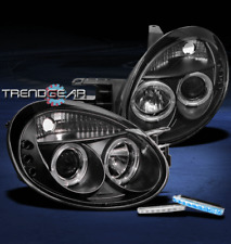 2003 2004 2005 DODGE NEON DUAL HALO LED BLACK PROJECTOR HEAD LIGHTS W/BLUE DRL
