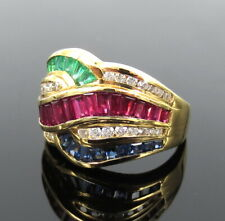 Estate AGC 2.25ct Diamond Ruby Sapphire & Emerald 18K Gold Geometric Ring